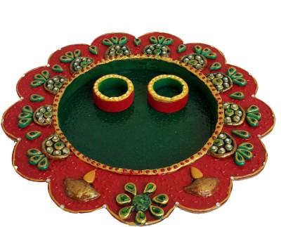 Divinecrafts Papier-Mache Elegant Multiutility Wooden Pooja & Thali Set