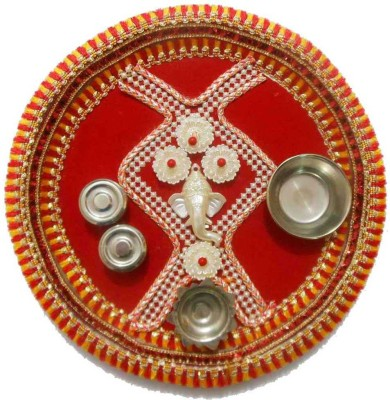 Tradition India Diwali Gift Diya TI134 Stainless Steel Pooja & Thali Set