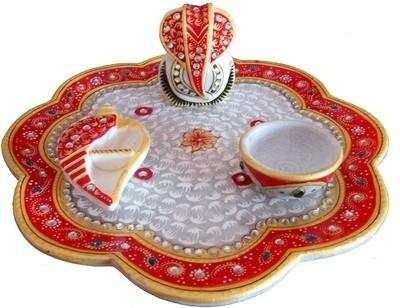 Traditional Rajasthan Ganesh and Sindoor Chopra Marble Pooja & Thali Set