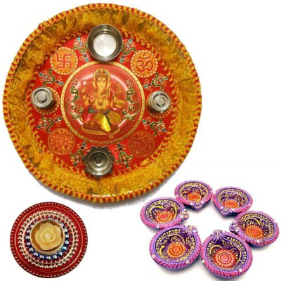Tradition India Diwali Gift Diya TI131 Stainless Steel Pooja & Thali Set