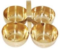 Mehrunnisa Brass Puja Roli Chawal Elaichi Mishri 4 Bowl Stand Brass Pooja & Thali Set(1 Pieces, Gold)