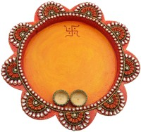 JaipurCrafts Decorative Kundan Studded Flower Wooden Pooja & Thali Set(1 Pieces, Multicolor)