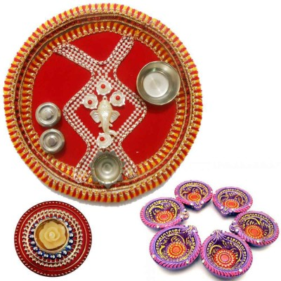 Tradition India Diwali Gift Diya TI128 Stainless Steel Pooja & Thali Set