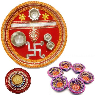 Tradition India Diwali Gift Diya TI129 Stainless Steel Pooja & Thali Set