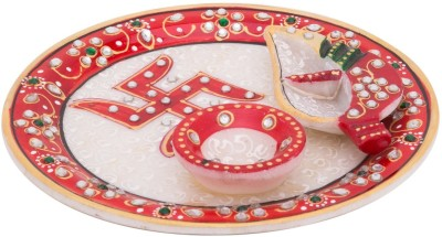 Gaura Art & Crafts Marble Pooja & Thali Set