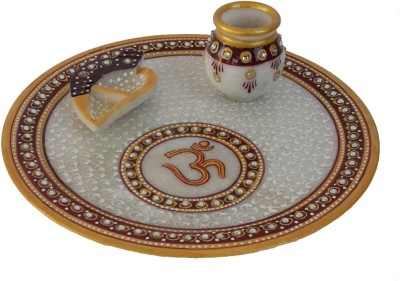 Divinecrafts Makrana Marble Kundan Studded Multiutility Marble Pooja & Thali Set