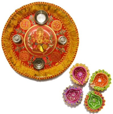 Tradition India Diwali Gift Diya TI020 Stainless Steel Pooja & Thali Set