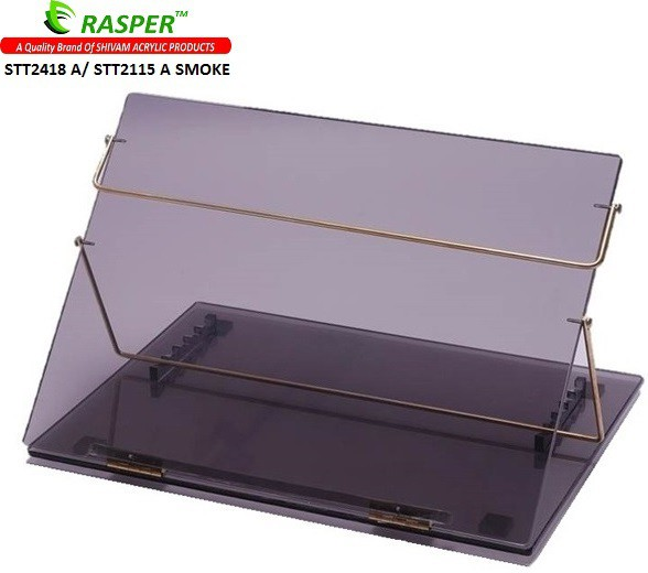 View Rasper Acrylic Table Top Desk Elevator (STANDARD SIZE, 21x15 Inches) Acrylic Writing Desk Fabric Portable Laptop Table(Finish Color - Smoke Black Transparent) Furniture (Rasper)
