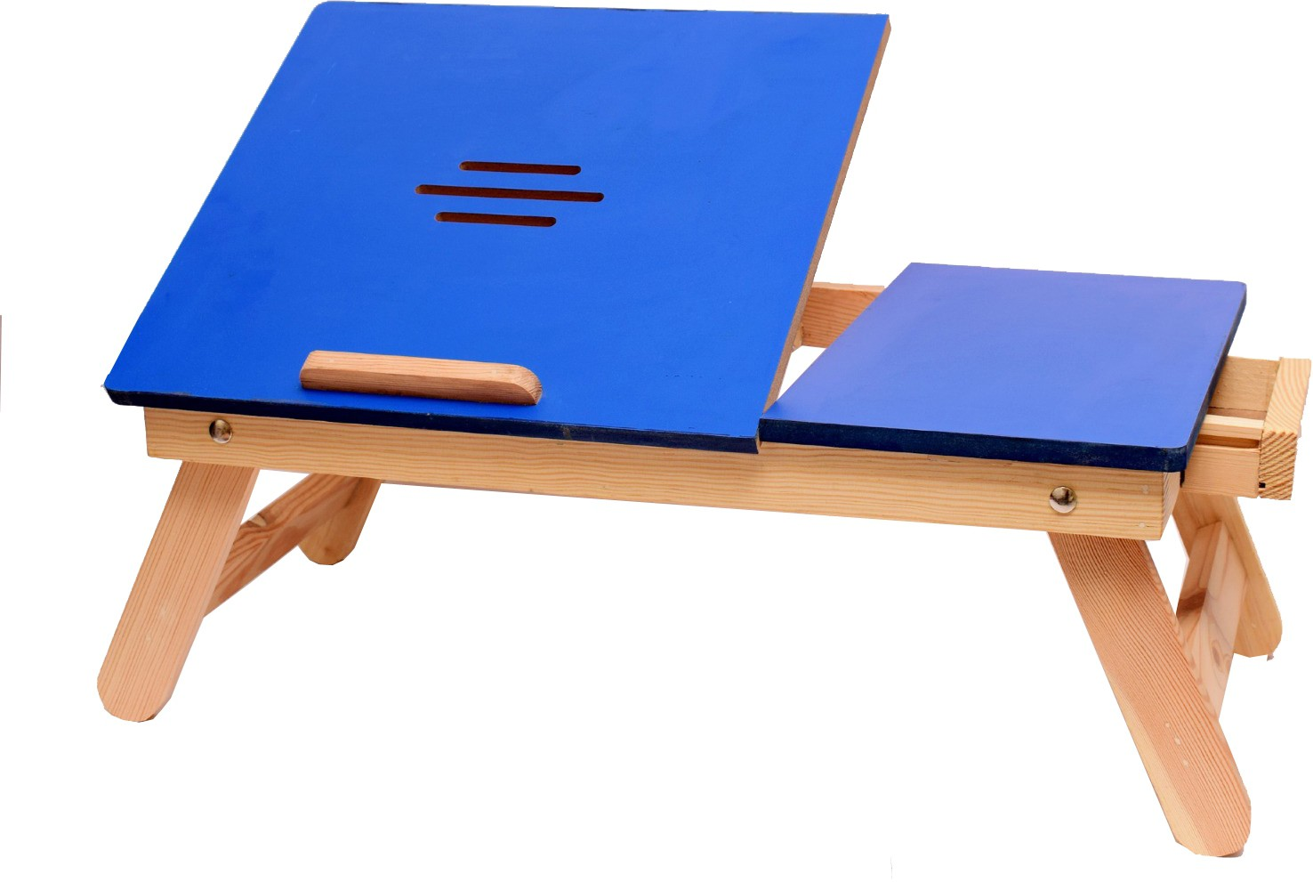 View Cart4Craft Blue Matte With Drawer Solid Wood Portable Laptop Table(Finish Color - Blue) Furniture (Cart4Craft)