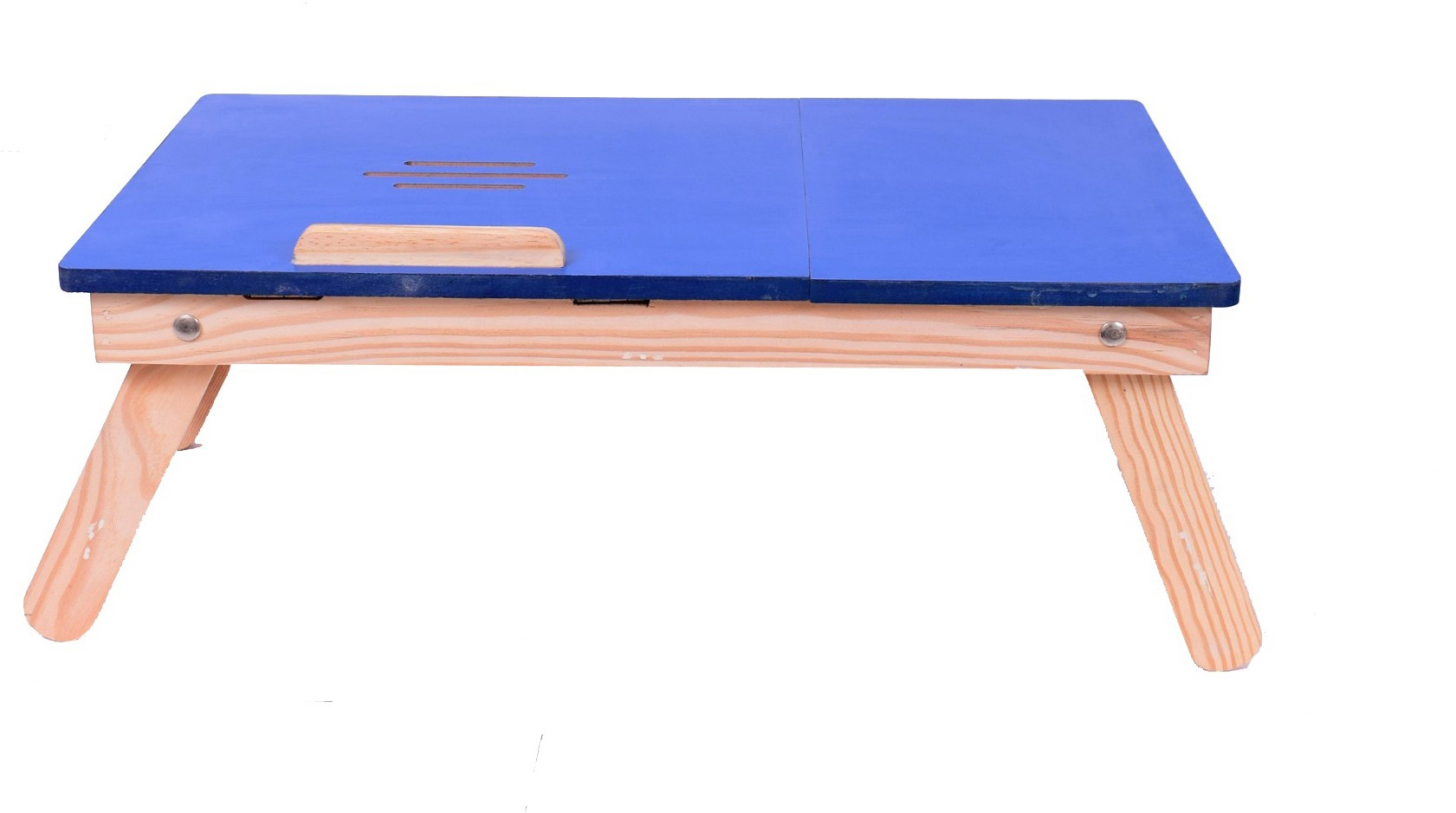 View Cart4Craft Blue Matte With Drawer table Solid Wood Portable Laptop Table(Finish Color - Blue) Furniture (Cart4Craft)