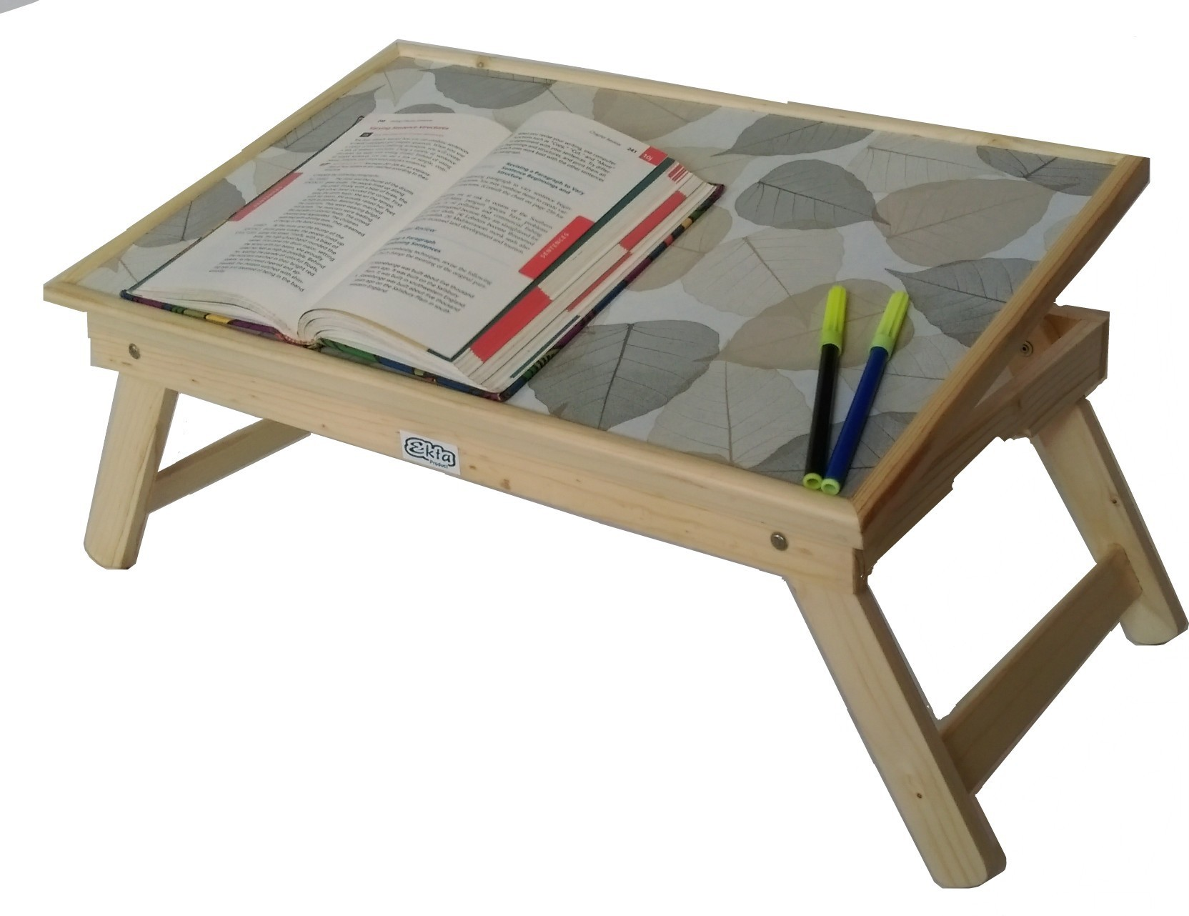 View Ekta Product EktaSmallBeige Engineered Wood Portable Laptop Table(Finish Color - Light Oak) Furniture (Ekta Product)
