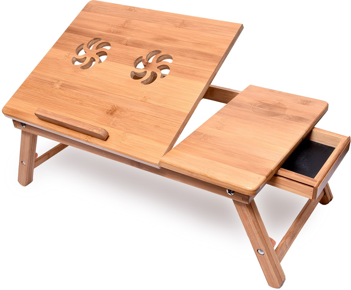 View Bamboo Arts Solid Wood Portable Laptop Table(Finish Color - Brown) Furniture (Bamboo Arts)