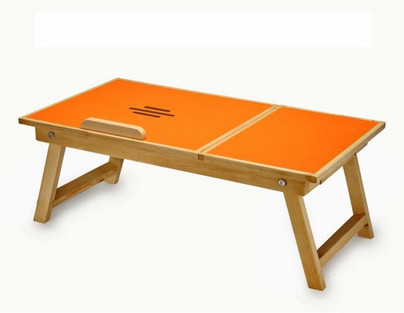 Teeta Engineered Wood Portable Laptop Table(Finish Color - Orange)