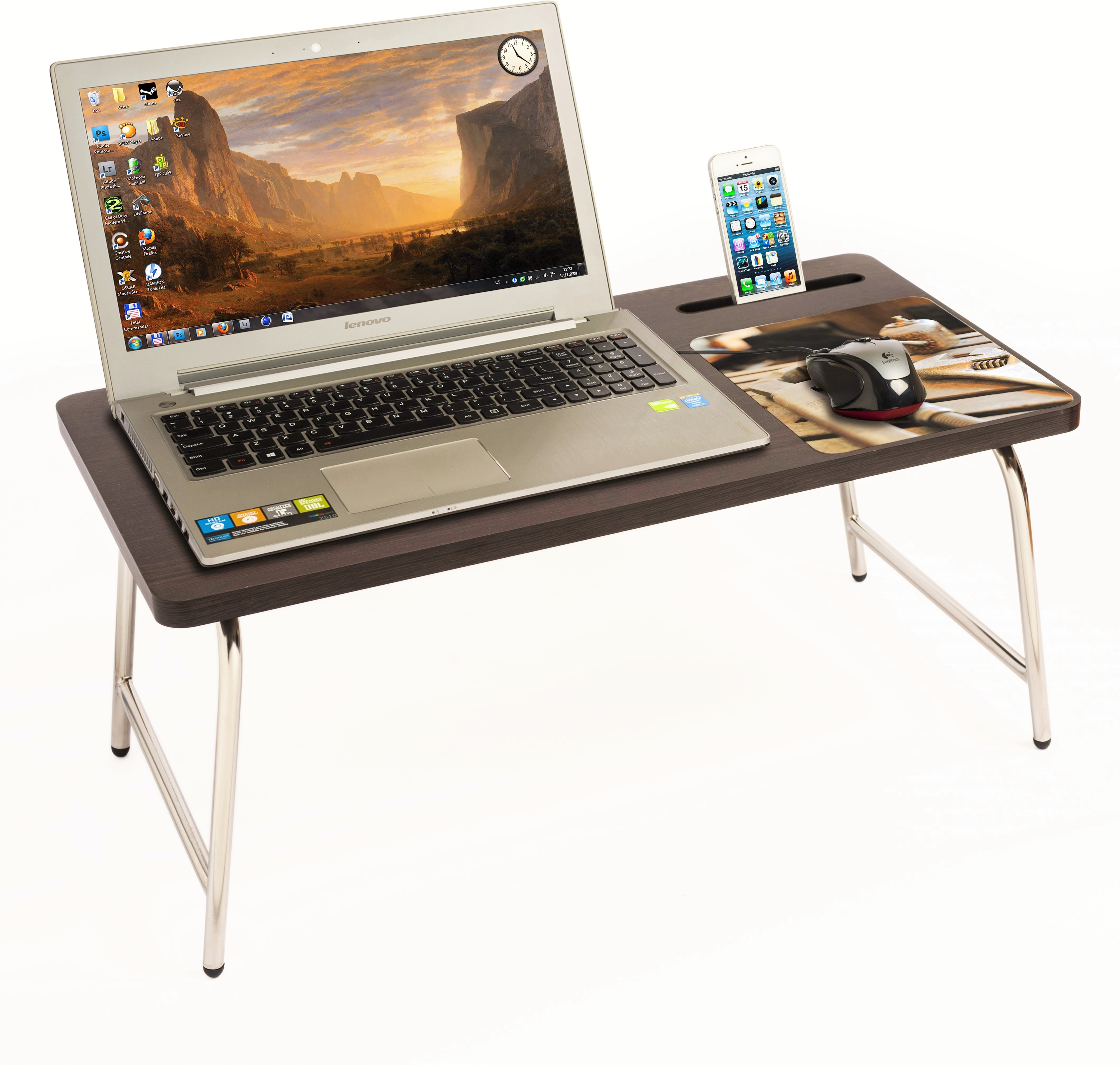 View Bluewud Riodesk Ace Engineered Wood Portable Laptop Table(Finish Color - Wenge) Price Online(Bluewud)