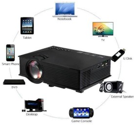 Wonder World ™ UC-46 Upgraded Mini LED WIFI Theater Multimedia Video Projectors USB AV HDMI 1200 lm LED Corded Mobiles Portable Projector(Black)