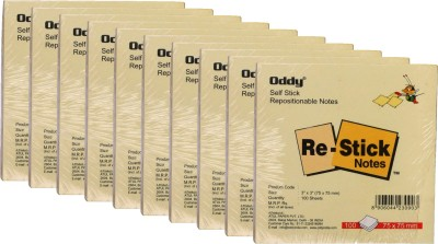 Oddy Re-Stick Paper Notes 100 Sheets ,3 X 3, Self Stick Repositionable Note Pad Yellow, 1 Colors