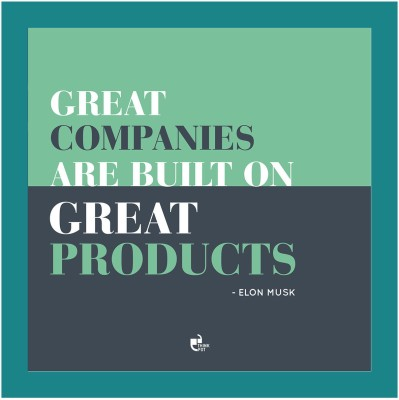 Great companies are built - Elon Musk Blue Square Frame Photographic Paper