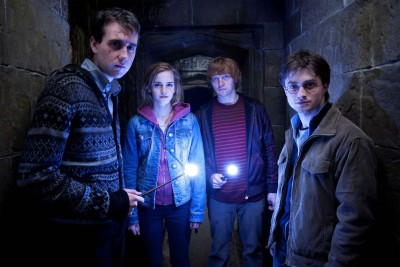 Neville Ron Hermione And Harry Lumos Paper Print