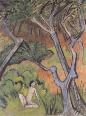 The Museum Outlet Otto Mueller - Waldlandschaft mit Akt - 1924 (Medium) Canvas Painting