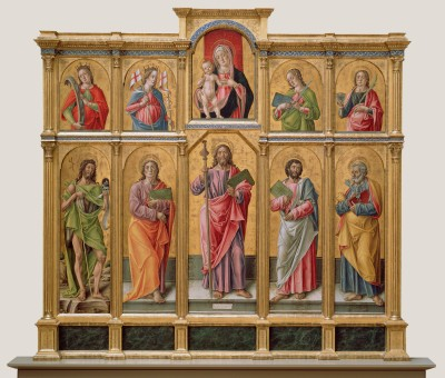 Polyptych With Saint James Major Madonna And Child And Saints By Bartolomeo Vivarini Italian Venetian About Fine Art Print