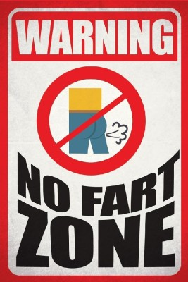 Seven Rays Warning No Fart Zone Paper Print