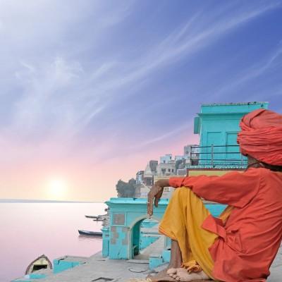 Holy Man Near Ganges Framed Art Print Canvas Art