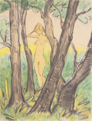 Otto Mueller - Stehender weiblicher Akt zwischen Baumen - ca1925 (Medium) Paper Print