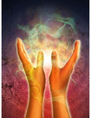 Mystical Energy Generating From Open Hands Premium Poster Canvas Art