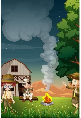 Kids Near The Campfire Premium Poster Paper Print