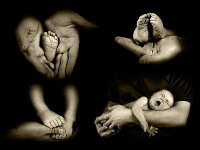 Babys Foots In Father Hands Framed Art Print Canvas Art