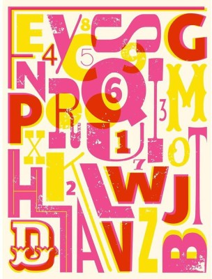 Letters And Numbers In Retro Style Premium Poster Canvas Art