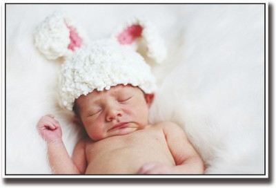 Baby sleeping with bunny hat Fine Art Print