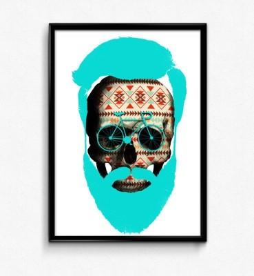 Cycle Skull Beard Paper Print
