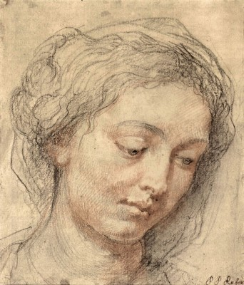 The Museum Outlet Head of a woman [2] by Rubens - Print (24 x 18 Inch) Canvas Painting