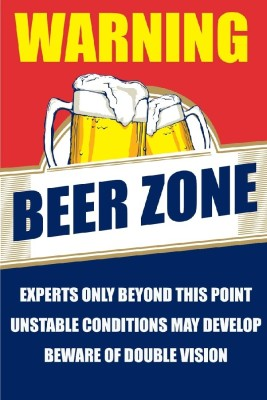 Seven Rays Warning Beer Zone Paper Print