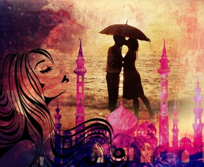 Canvas Painting Without Frame - Beautiful Couples Canvas Art