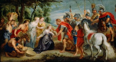 Framed David Meeting Abigail by Peter Paul Rubens Flemish Fine Art Print