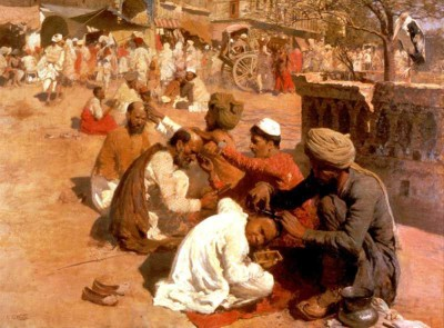 The Museum Outlet - Art Postcard - Weeks Edwin Lord Indian Barbers Saharanpore Fine Art Print(7 inch X 5 inch, Flat)