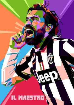 Pirlo Juventus Soccer A3 Cotton Canvas High Quality Printed Poster - Wall Art Print (Size : 11.7 x 16.5) , For Bedroom , Living Room, Kitchen, Office, Room Canvas Art