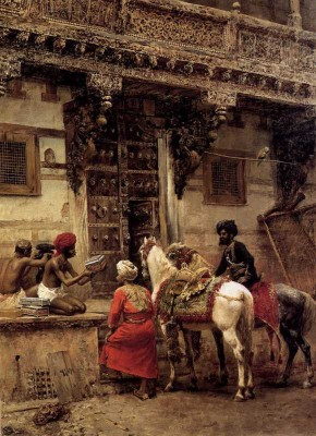 The Museum Outlet - Art Postcard - Weeks Edwin Lord Craftsman Selling Cases By A Teak Wood Building Ahmedabad Fine Art Print