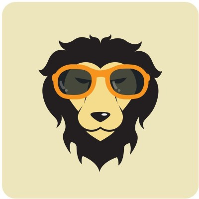 Lion Wearing Glasses Premium Poster Canvas Art