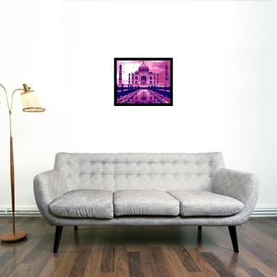 Taj Framed Wall art (Pink) With glass Photographic Paper