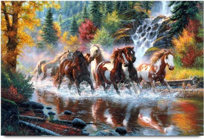 Horses In The River Paper Print