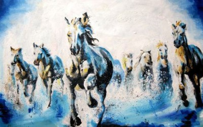 Wall1ders White Horses Canvas Art