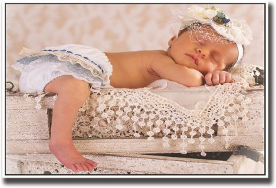 Baby sleeping on crates Fine Art Print(12 inch X 18 inch, Rolled)