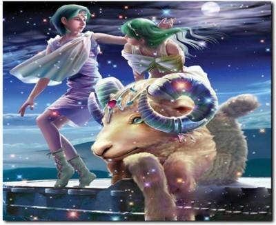 Stybuzz Aries Horoscope Frameless Canvas Art(22 inch X 18 inch)