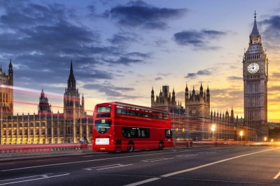 Athah Poster Westminster Palace - Red Bus Paper Print