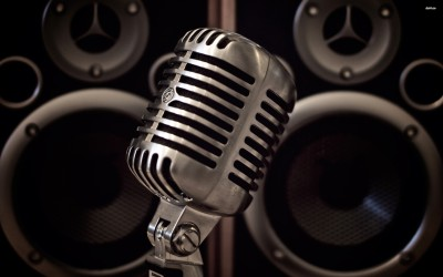 Microphone and speakers Fine Quality Poster Paper Print