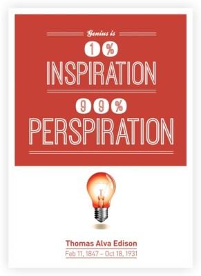 Genius and Inspiration Thomas alva Edison Quote Poster Paper Print