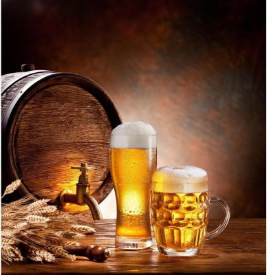 Beer Barrel With Beer Glasses Premium Poster Canvas Art